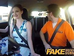 Fake Driving School pink nipples big funbags redhead facial