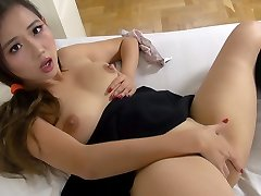 Asian schoolgirl bangs herself