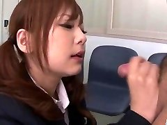 Miku Airi Asian schoolgirl blows a thick hard-on