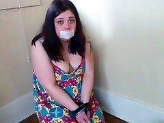 Handcuffed Obese Slut Gagging on Cock