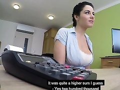 Big boobs Czech MILF sucks and ravages to get her loan