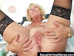 Blonde milf Greta gigantic natural boobs and uniform