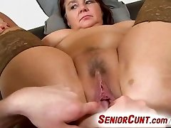 Fat lady Eva aged vulva finger-tickled and toyed pov zoom