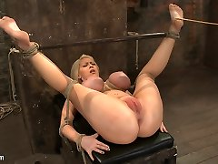 California Blond With Huge Globes Has Them Trussed To Her Knees  Spreadmade To Squirt  Scream - HogTied
