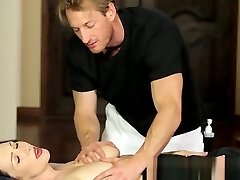 Busty massage stunner pussyfucked by fat cock