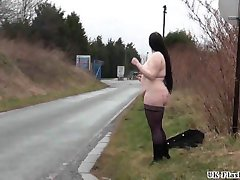 Fat amateur flasher Emmas public exhibitionism and voyeur bbw babe outdoors