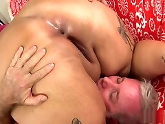 Pink haired plumper Sara gets her tight snatch rammed with hard meat
