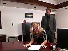 Nicole drills in office