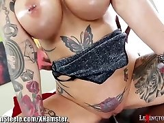 Big Tits Tattooed MILF on Thick Black Trouser Snake