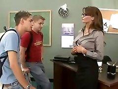Busty brunette educator fucks and sucks her 2 students in threesome