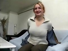 Chubby mature blonde doll gives interview and undresses