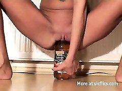 Skinny fuckslut fucking huge bottles