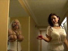 Full figured girl hog tied in white lingerie