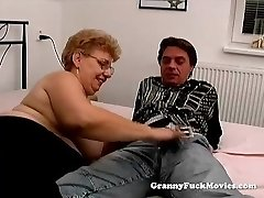 A fat grandmother has sex