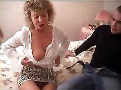British grannie goes totally insane and attempts to fuck with her grandson's friend