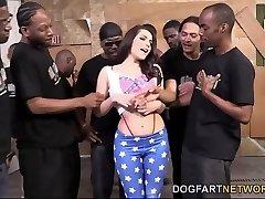 Valentina Nappi Orally Satisfies A Bunch Of Dark-hued Cocks