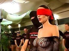 German Goo Gals - Blindfolded Milf bukkake gangbang