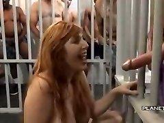 Bukkake - Slut with big tits in american prison bukkake