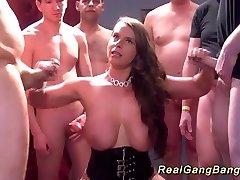 gangbang with big all-natural breast babe