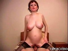 Pregnant Russian First-timer Slut Eating Cum