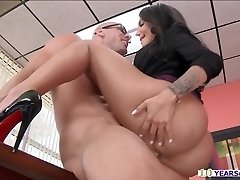 Ginormous caboose Leyla gets spilled while gently rubbing her pussy inside office