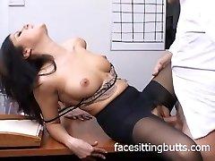 Horny office slut in stocking gargles like a pro!