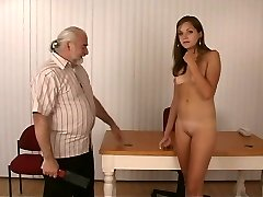 Slim sexy dark-haired strips for old dude who whips her rock hard round ass