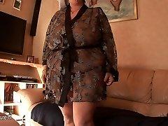 Big mama getting young jizz on her bra-stuffers