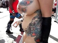 Huge-titted mature exhibitionist with fondling in public