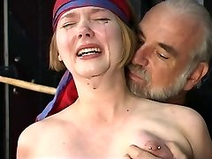 Cute young blonde with perky tits is restricted for nipple clamp have fun