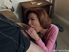 Red haired big-titted MILF Veronica Avluv guzzles massive penis of Dane Cross