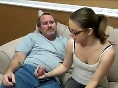 Super-cute nubile girl handjob to her daddy