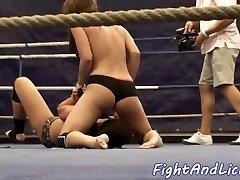 Mischievous girl-on-girl babes wrestling on the floor