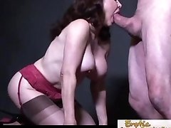 Busty cougar in pantyhose prefers it doggy style