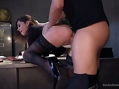 Horny curvy secretary Kacie Castle gets arched over the table and nailed firm