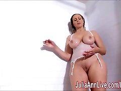 Handsome Cougar Julia Ann Lathers Her Big Tits in Shower!