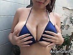 Steamy brunette asian hoe with massive juggs