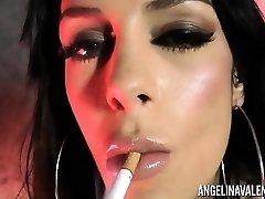 Angelina Valentine Smoking while Pulverizing Herself