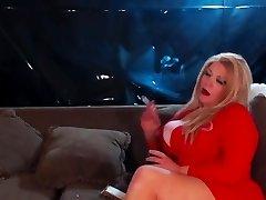 Buxomy blonde smoking