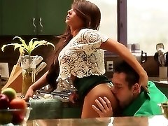 huge-titted brunette fucking and smoke cock