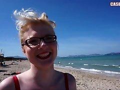 Casey Deluxe flashing boobs at a public beach