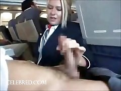 Sexy stew sucking and stroking dick on flat uniform bj hefty tits ample cock handjob blonde funny