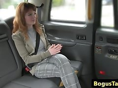Busty red-haired taxi cutie bum-fucked by driver
