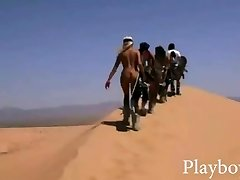 Ginormous rack stunners tries out sand boarding
