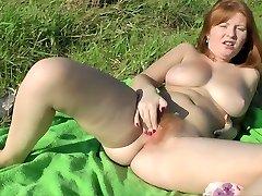 REDHEAD SCARLETT HAIRY PINK PUSSY BIG Pink TITS Masturbates