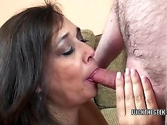 Busty housewife Alesia Pleasure is swallowing a rock-hard cock