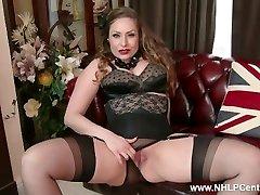 Natural big tits brunette Sophia Delane unclothes to nylons heels and jacks