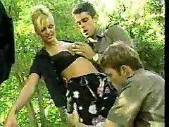 2 italian police officers boning a prisoner in outdoor