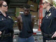 Caucasian police ladies bangs dark-hued scofflaw in threesome