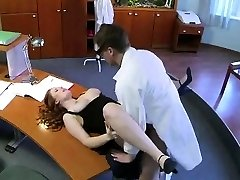 Busty assistant gets ate and poked by the doctor